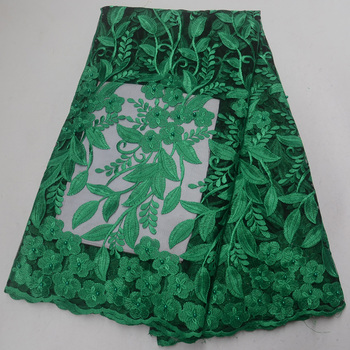 (5yards/pc) Green African party lace fabric wonderful embroidered French net lace fabric with beads for party dress FLP131