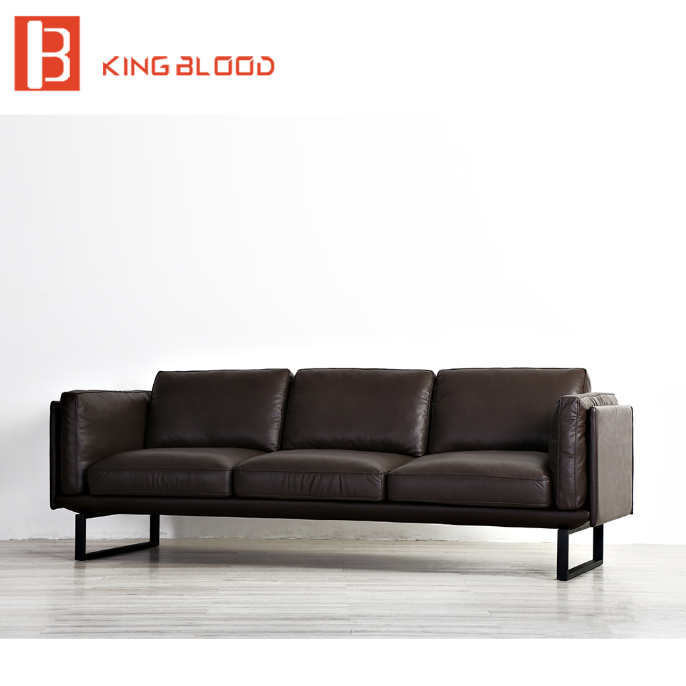 Modern dubai style brown Nappa leather lobby sofa furniture design image