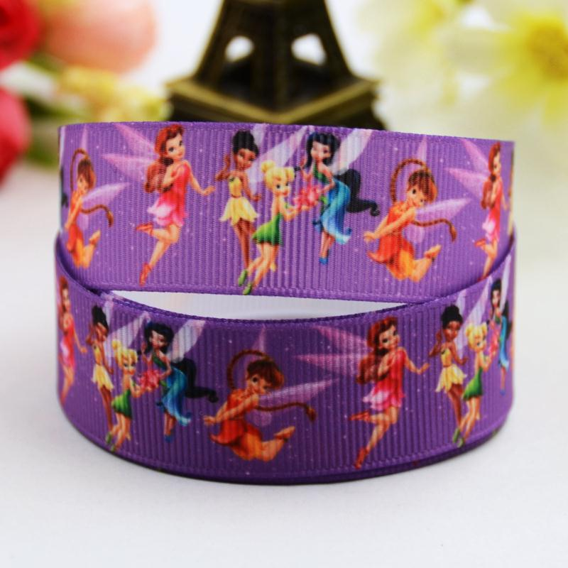 7/8 (22mm) Tinker Bell Cartoon Character printed Grosgrain Ribbon party decoration satin ribbons OEM 10 Yards X-00711