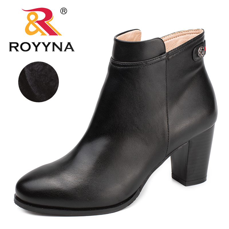 ROYYNA New Arrival Classics Style Women Boots Zipper Women Winter Shoes Round Toe Lady Ankle Boots Comfortable Free Shipping new arrival women shoes comfortable patnet leather round toe slip on for women mid calf boots side zipper lady punk shoes red