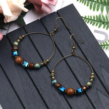 Vintage Natural Stone Earrings Bohemian Retro Round Handmade Beads Charm Hoop for Woman Jewelry Gifts