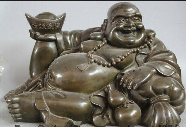 JP S62 17 Chinese Buddhism Bronze Calabash Seat Happy Laugh Maitreya Buddha Statue