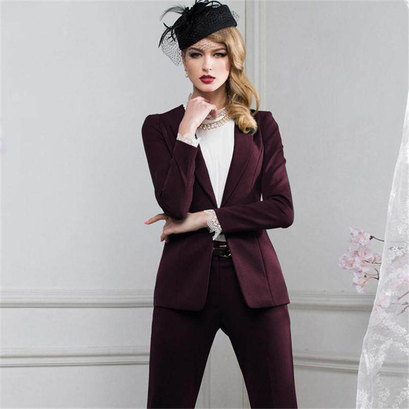 Custom Made Grape Womens Business Suits  Female Office Uniform Ladies Trouser Suits Formal Womens Tuxedo Slim 2 Piece Blazer