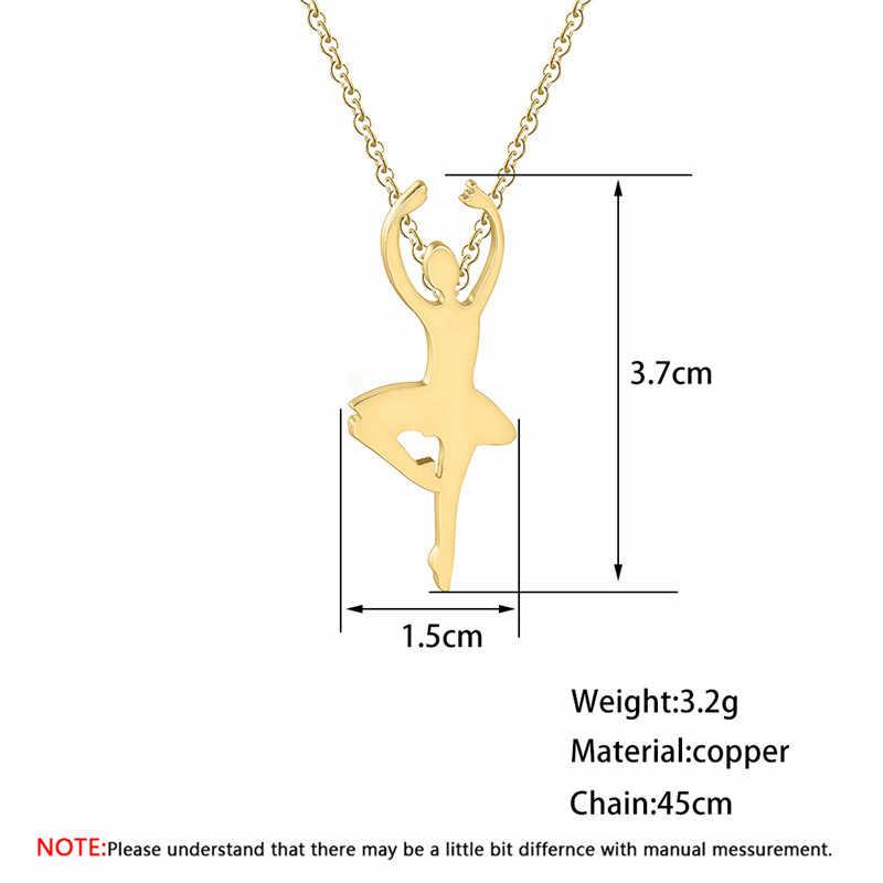 Stainless Steel Olahraga Perhiasan Gambar Yoga Kalung Dancer Run Ballerina Fashion Emas Wanita Kalung Wanita Hadiah Ulang Tahun