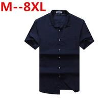 Plus Large Size 8XL 7XL 6XL 5XL 4XL New Summer 2016 Short Sleeve Twill Pure Color