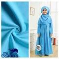 2016 dubai robe chilaba de algodón vestido de los niños de manga larga musulmán tradicional ropa de la historieta niños burka con hijab 5 colores