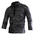 hot sale fashion stand collar men leather jacket buttons design pu motorcycle casual coat outwear 2 color M XXL CCL34