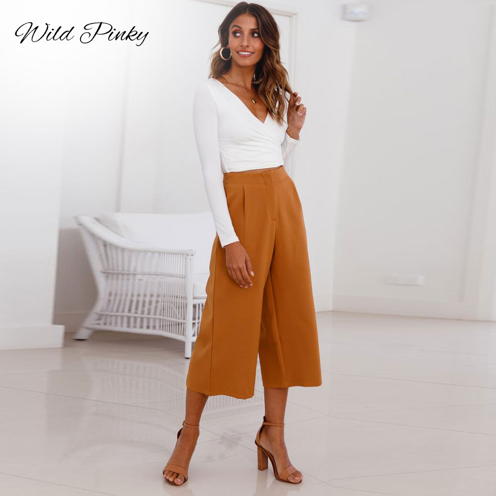 WildPinky Spring Lady Wide Leg   Pants   Women Summer High Waist Trousers Chic Streetwear Casual Calf-Length   Pants     Capris   Female