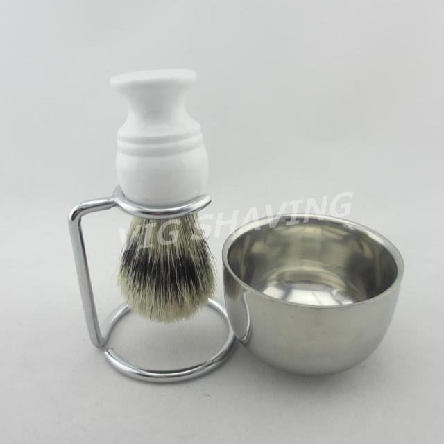 Faux badger color boar bristle brush stand  and bowl shaving set