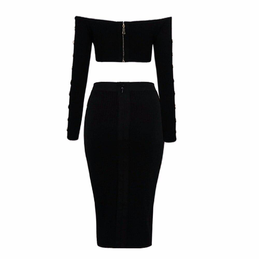 Pièce noir Élégant Bandage Arrivée Tricoté Sexy Manches Parti Robe Beige À Designer Longues 2 Nouvelle 2017 Femmes v8wmN0n