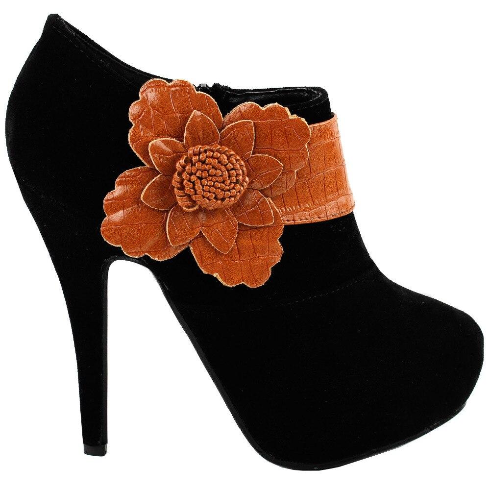 LF30310 Elegant Black Brown Floral Zipper Platform High Heel Stiletto Ankle Bootie Pump mld lf 1127 ankle supports