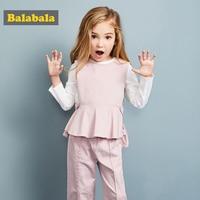 Balabala 3pcs/set girls clothing set cotton toddler girl clothes suit costume Solid preppy style tshirt + leggings + vest sets