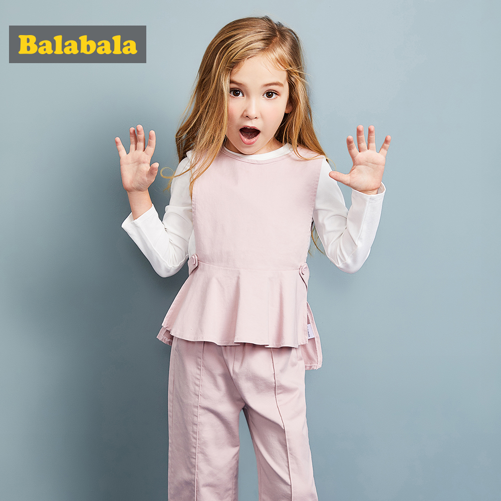 Balabala 3pcs/set girls clothing suit set toddler girl clothing girls costume Solid sets preppy style clothing sets for girl