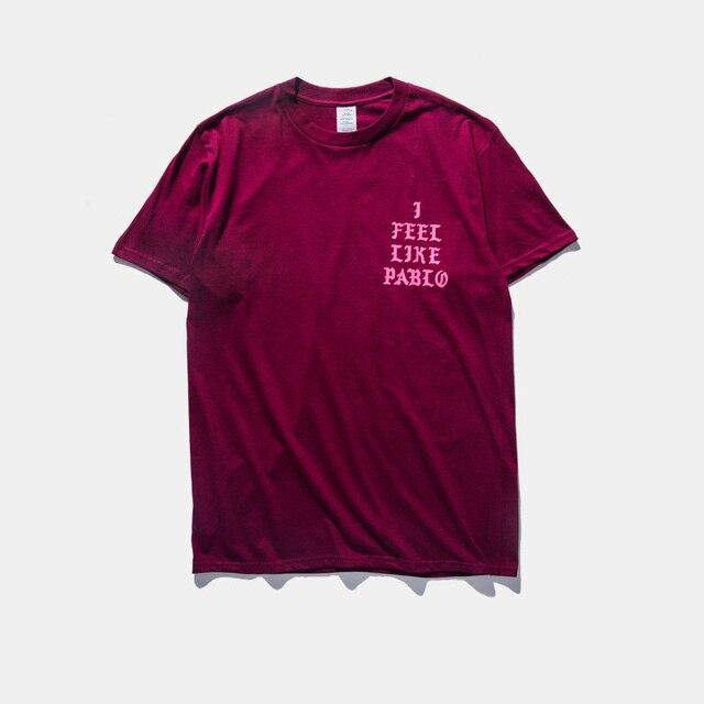 La Vida de Pablo Mens ropa Me siento como pablo de Manga corta camiseta Kanye West YEEZY temporada 3 carta negro tee tops camisetas
