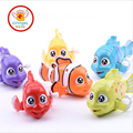IQANGLE Colorful Clown Fish Turbot Wind Up Toys Clockwork Toy Baby Kid Running Spring Toy Children Newborn Baby Mini Pet Animal
