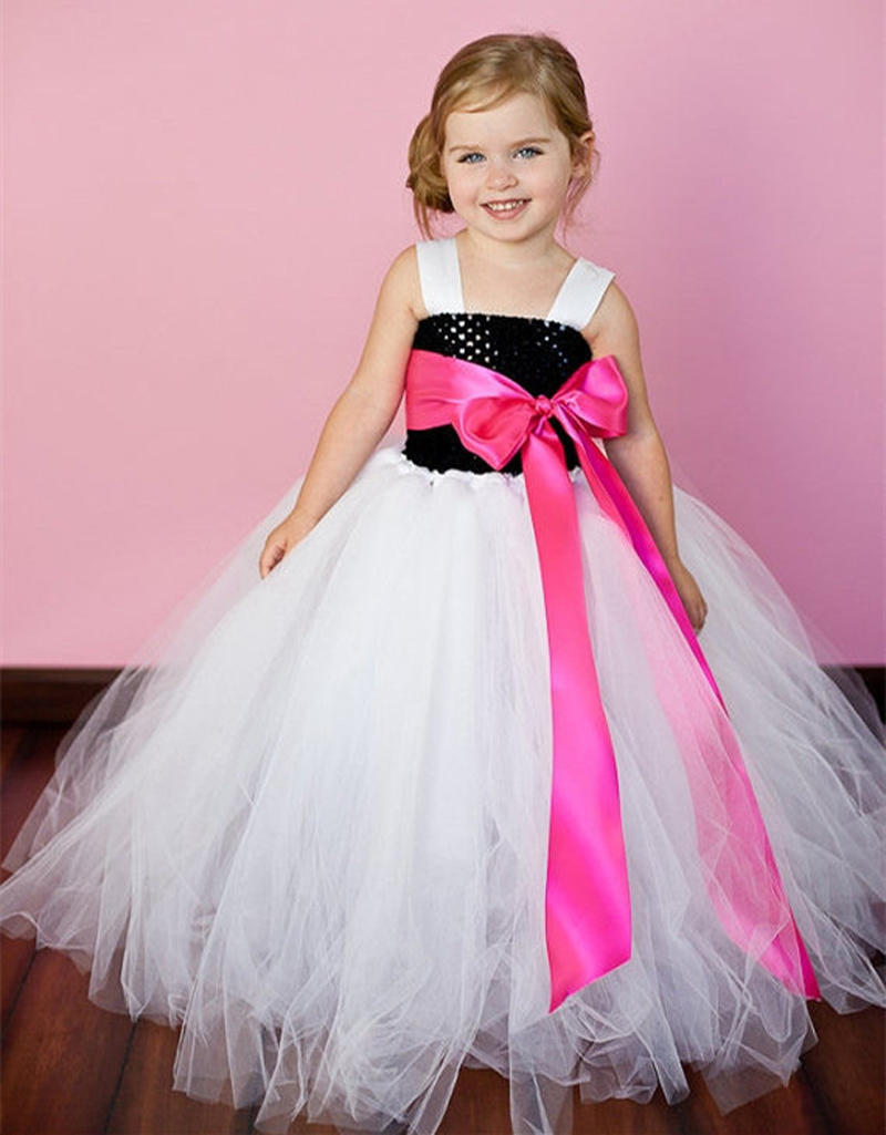 Latest Solid Color Flower Girls Tutu Dress Kids Tulle