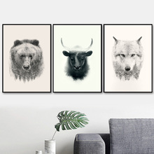 Bull Bear Wolf Abstract Nature Forest Nordic Poster And Prints Wall Art Canvas Painting Pictures For Living Room Home Decor