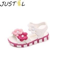 JUSTSL/детская повседневная обувь; Летние сандалии для девочек; Новинка года; детская обувь на плоской подошве с цветочным принтом; обувь принцессы; размеры 21-30