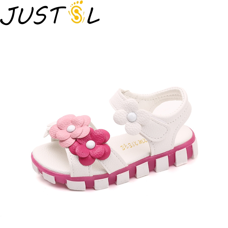JUSTSL Children's Casual Shoes Girls Summer Sandals 2019 New Baby Flat Flower Small  Shoes Kids Princess Shoes Size 21-30