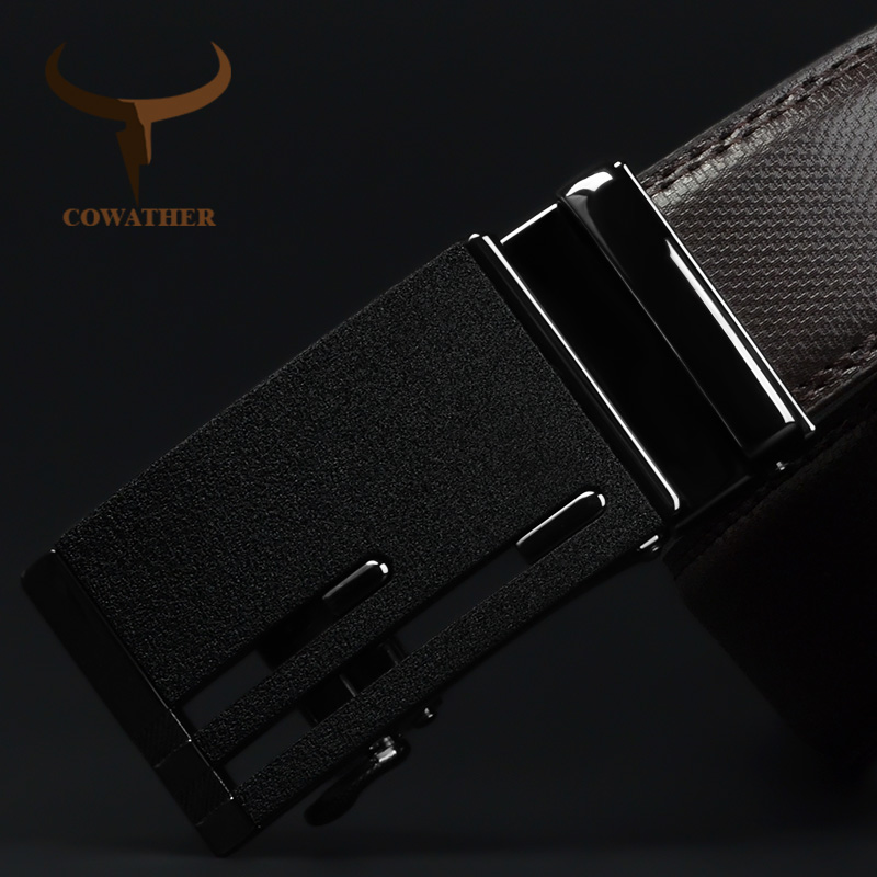 COWATHER Men Belt Cow Genuine Leather Belts For Men High Quality Cowhide Leather Automatic Buckle Male Strap Free Shipping CZ145