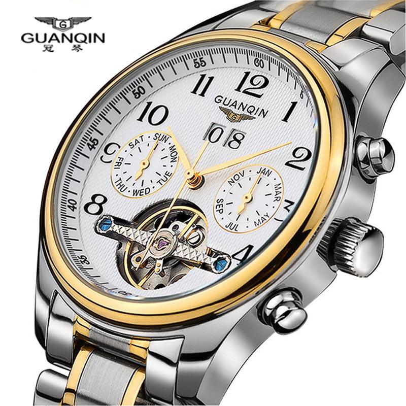 Luxury Watches men Top brand Original GUANQIN Sapphire Mechanical Waterproof Auto mechanical Watches fashion men wristwatch