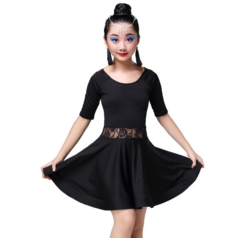 Kid Girls Lace Black Latin Dance Costumes Children Long Sleeve Ballroom Costume Skirt for Girls Salsa Cha Cha Tango Rumba Samba