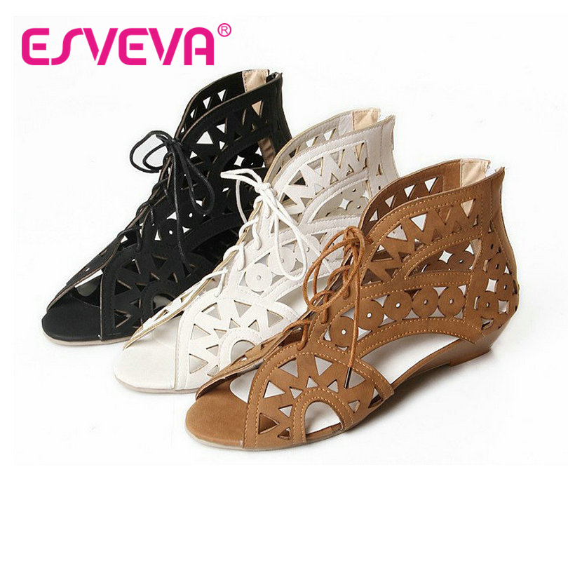 ESVEVA Ladies Summer Gladiator Shoe Wedges Heel Woman Pump Platform Zipper Cut Outs Shoes Women Beige Wedding Shoes Size 34-43 phyanic 2017 gladiator sandals gold silver shoes woman summer platform wedges glitters creepers casual women shoes phy3323