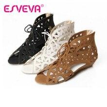 ESVEVAสุภาพสตรีฤดูร้อนG Ladiatorรองเท้าเวดจ์ส้นผู้หญิงปั๊มแพลตฟอร์มซิปตัดลึกหนาบางรองเท้าผู้หญิงรองเท้าสีเบจงานแต่งงานขนาด34-43