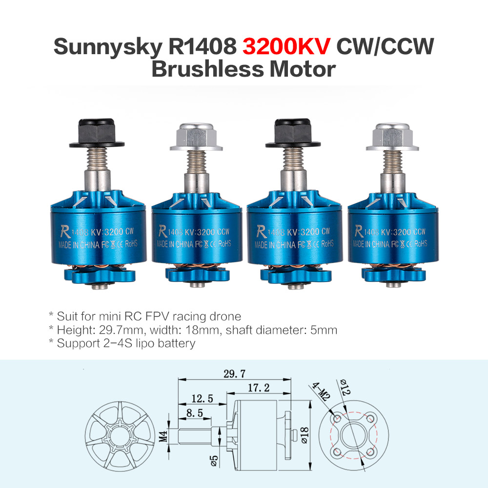 4pcs Sunnysky R1408 1408 3200KV 2-4S CW/CCW Brushless Motor Kit for RC Racing Drone Quadcopter 2 pairs sunnysky r2305 2480kv cw ccw 3 4s brushless motor for 210 qav250 fpv racing drone multirotor quadcopter helicopter servo