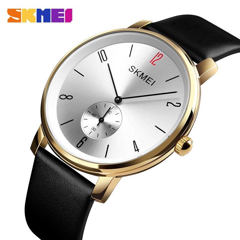 Top Brand SKMEI Quartz Watch Luxury Leather Men's Wrist Watches 30M Waterproof Business Mens Watch Bracelet Simple Design Clock