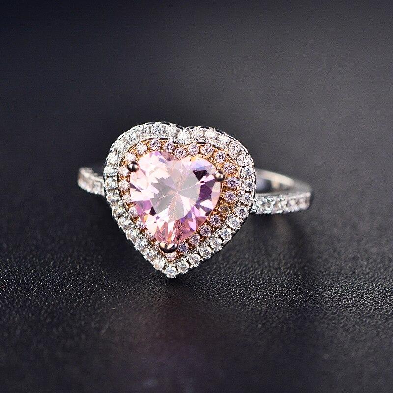 High Quality Micro Paved Cubic Zirconia Pink Heart Ring for Women CZ Stone Crystal Bague Jewelry zk80 yoursfs love heart cubic zirconia розовое золото цветные серьги с сердечком cz stone модные украшения для женщин серьги оптом