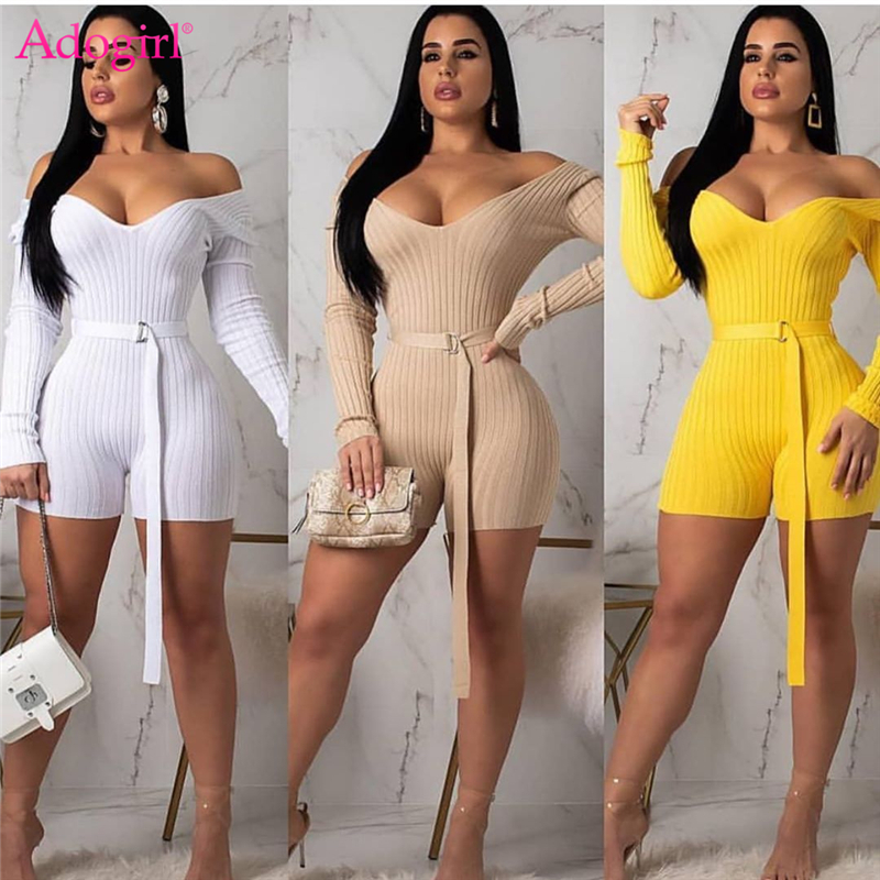 Adogirl Women Sexy Off Shoulder Knitted Playsuit Sexy V Neck Long Sleeve Slim Shorts Jumpsuit Knitting Romper Bibbed Bodysuits