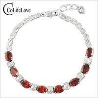 Luxurious Natural Garnet Bracelet High Quality 925 Solid Sterling Silver 8ct Garnet Silver Bracelet Garnet Stone