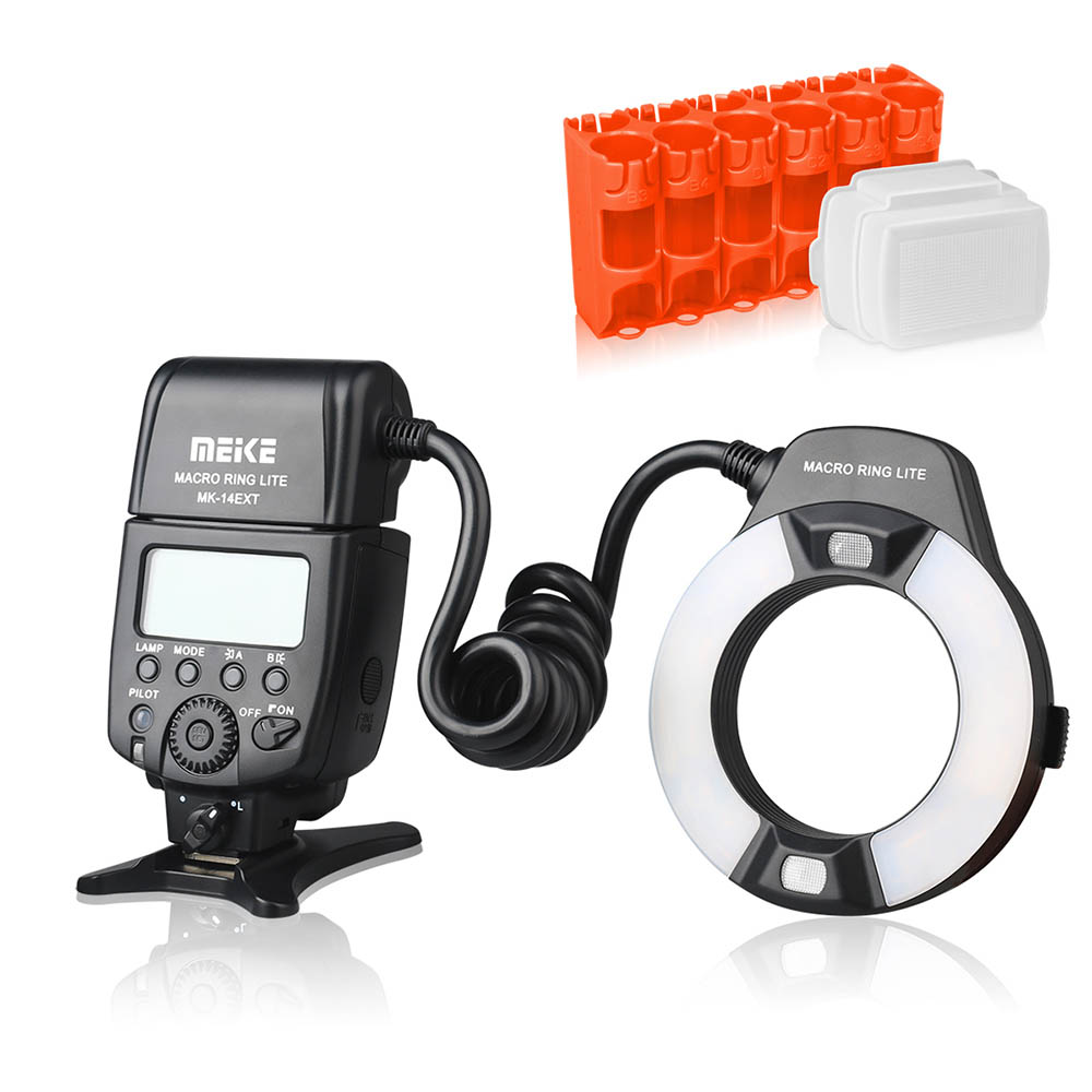 Meike MK-14EXT MK-14EXT-C E-TTL Macro LED Ring Flash Speedlite with LED AF Assist Lamp for Canon EOS DSLR Camera