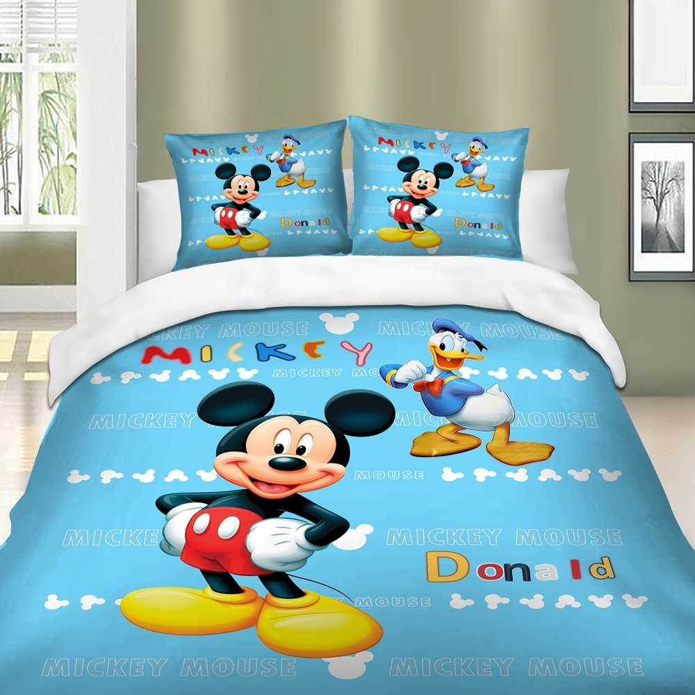 Disney Mickey mouse bedding set donald blue color Duvet Cover Pillow Cases Twin Full Queen King Double Size 3pcs