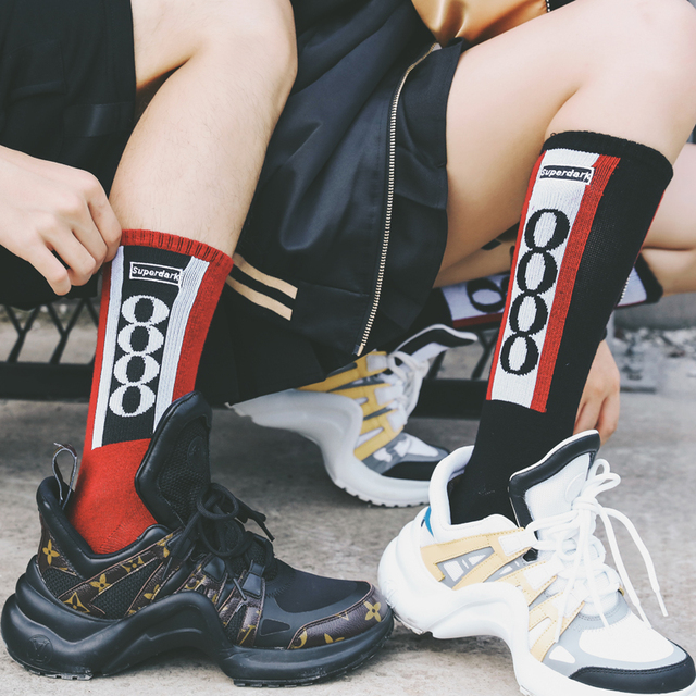 Letter pattern Hip hop Basketball Cotton Socks for Couple  Personality 88 Sign European and American trends Skateboard Men Sox