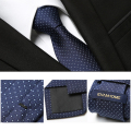 Free Delivery 2016 Fashion Mens Ties For Men Nano-tie 7CM Polka Dot Elegant Navy Blue Neckties Brand Men's Ties Gift BOX