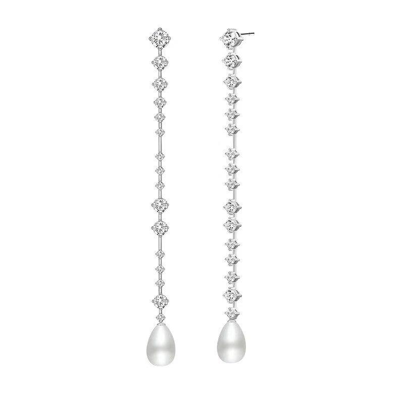 Célèbre long gland chaîne boucles d'oreilles perle naturelle 925 en argent sterling pleine zircon boucles d'oreilles pour les femmes
