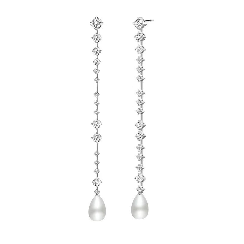Luxury long tassel chain earrings natural pearl 925 sterling silver full zircon drop earrings boucles d'oreilles pour les femmes