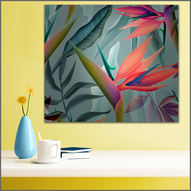 Large size Printing Oil Painting Beautiful color leaves Wall art ...