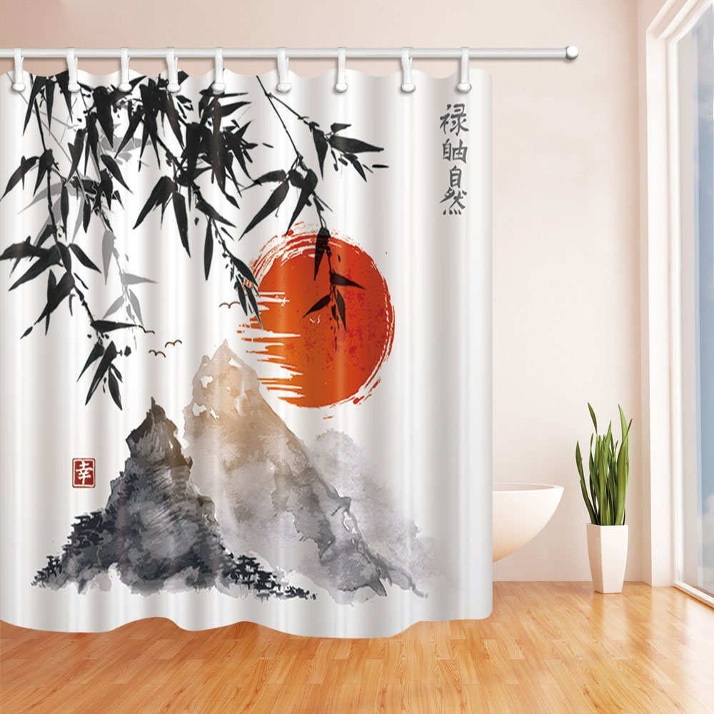 Japanese Bamboo Trees Sun and Mountains Bath Curtain Polyester Fabric Waterproof Shower Curtains Shower Curtain Red