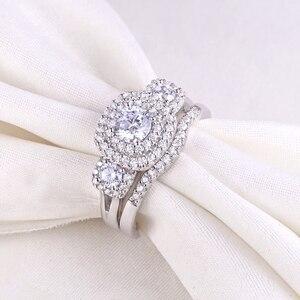 Image 3 - Newsheハロー女性のための 925 スターリングシルバー婚約指輪クラシックジュエリー 1.3 ctラウンドカットaaaキュービッジルコニア