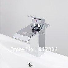 Водопад Носик бортике одной ручкой ванной бассейна латуни раковина смеситель кран Chrome YS8256B