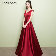 BANVASAC 2018 V Neck Wine Red Satin Long A Line Evening Dresses Elegant Sleeveless Sash Open Back Party Prom Gowns