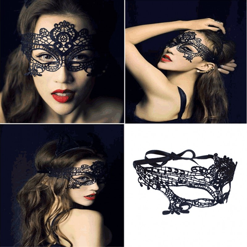 Black Lace Mask For Cosplay Floral Sexy Lady Masque Cutout ...