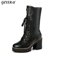 QZYERAI European style ladies motorcycle boots strap combination high heel female boots fashion womens shoes