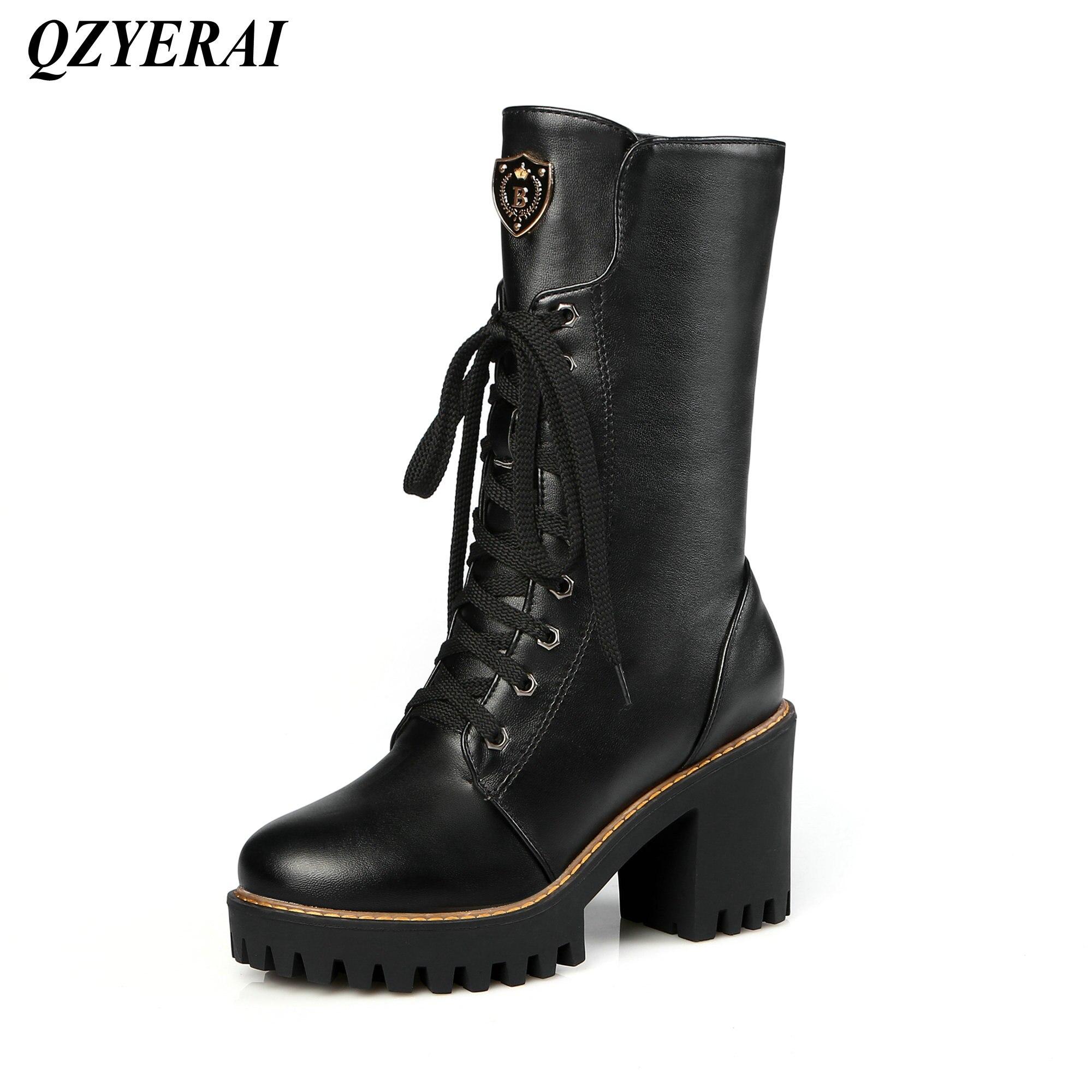 QZYERAI style européen dames moto bottes sangle combinaison haut talon femme bottes mode femmes chaussures