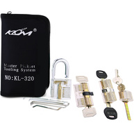 Free Shipping Professional Locksmith Tools Kit 32pcs Utility Tools with 4pcs Transparent Practice Lock Set