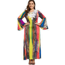 Wipalo Women Flare Sleeve Beach Boho Ethnic Elegant Party Dress Lace Crochet Embellished Maxi Gypsy Dress Plus Size 3XL-7XL(China)