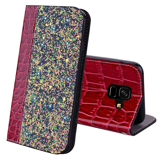 Glitter For Samsung A6 Plus 2018 Case Crocodile Skin Cover For Samsung A6 Plus 2018 Case Flip Leather Protection Phone Cover
